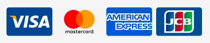 VISA、MasterCard、American Express、JCB